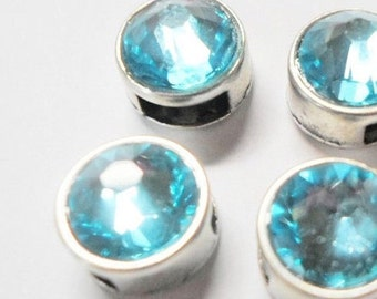2 5mm flat sliders, Light Turquoise Genuine Swarovski Crystal Sliders for 5mm flat Leather, 6mm flat leather,