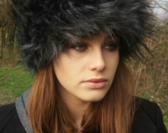 Black Wolf Faux Fur Russian Style Hat.