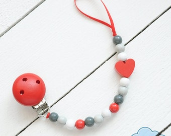 Pacifier Clip, Soother Holder, Wood Beads