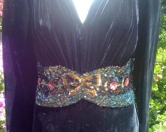 1930's to 1940's Black Silk Velvet Gown with Jewel Tone Sequins Stunning