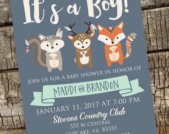 Boho Baby Shower Invitation, Fox Baby Shower Invitation, Woodland Baby Shower Invitation, Feathers Baby Shower Invitation, DIY 5x7 or 4x6