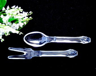 Set Vintage Glass Salad Servers • Clear Glass Spoon and Fork • Mid-Century • Corinthian Pattern
