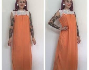 Vintage 1960's Orange Maxi Slip Dress