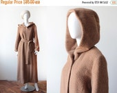 ON SALE Vintage 80's Hervé Bernard Fuzzy Honey Wool Hooded Coat/Cloak -- Druid Magic Vibes