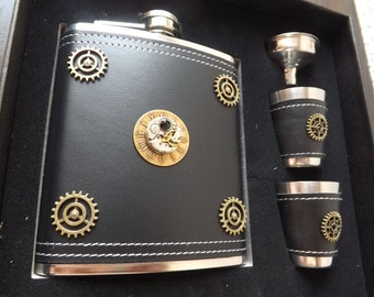 10% off sale17 Steampunk flask and cup set - mens steampunk gift - steampunk watch flask - gear flask - mechanism  flask - steampunk flask