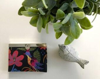 Small Card Wallet-Folk Bird Black Linen