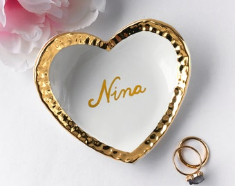 Personalized Ring Dish - Name Ring Dish, Heart Ring Dish, Wedding, Valentine's Day, Ring Holder, Anniversary, Engagement, Mother's Day
