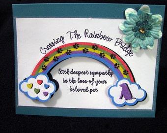LOSS OF DOG Pet Sympathy Card - Unique Hand Crafted Sympathy Card