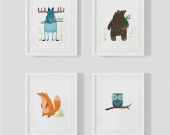 """4 children's images """"Wild animals"""""""