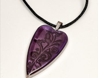 Purple Heart Floral Scroll Pendant