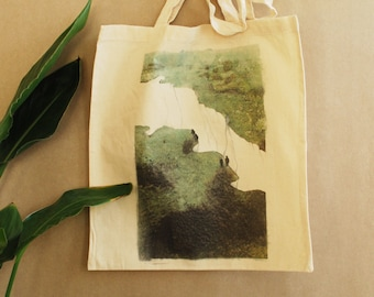 Cliff bag, totebag, tote bag, tote met illustratie, cotton bag with print, cliffs of Dover, green natural tote, walking, hiking, nature