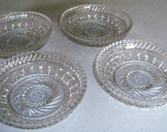 Cut Crystal Glass Set Of Four Heavily Decorated Bowls
