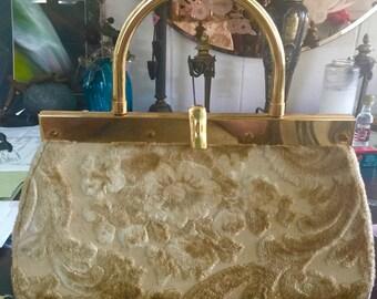 Stylecraft Miami  carpetbag circa 1960,handbag in golds and beige