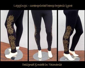 Leggings - screenprinted hemp/organic cotton lycra