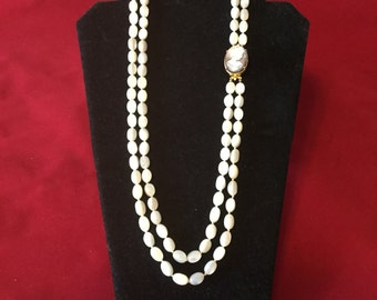 Mother of Pearl 2 Strand Necklace with detachable Clasp / Cameo Brooch