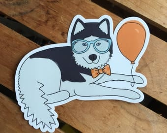 Party Husky Sticker - Durable Dog Sticker for Waterbottles