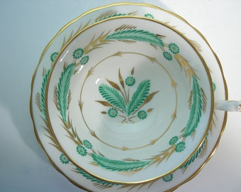 Large Royal Chelsea tea cup and saucer, Royal Chelsea Green and Gold Design, Large Mouth Tea cup.