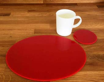 Oval Placemats or Placemats & Coasters - in Red Gloss Finish Acrylic 3mm