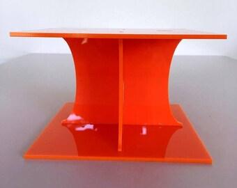 "Plain Square Orange Gloss Acrylic Cake Pillars/Cake Separators, for Wedding / Party Cakes 10cm 4"" High, Size 6"" 7"" 8"" 9"" 10"" 11"" 12"""