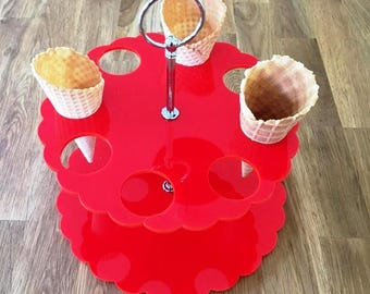 "Round Red Gloss Acrylic Ice Cream Cone Stands with Silver Metal Round Handle Rod (holes are 3.5cm 1.5"" Diameter) 4, 8 or 12 Hole Options"
