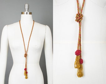Vintage 20s Glass Beaded Sautoir with Tassels | 1920s Art Deco Gold Red Long Flapper Necklace