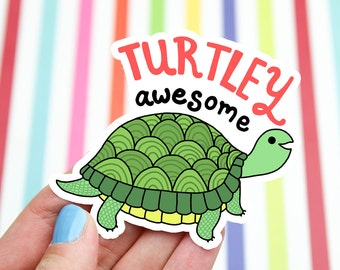 Turtle Sticker, Father's Day Gift, Awesome Decal, Dad, Turtle Decal, Green Turtle, Cute Stickers, Tortoise Sticker, Illustrated, Party Favor