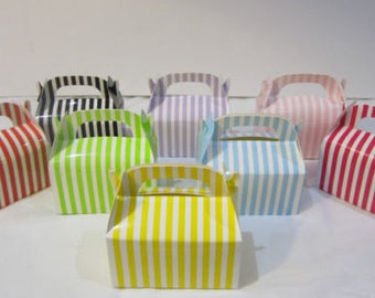 6x Striped gloss boxes, gable boxes, favour boxes, cookie boxes, cake boxes , circus theme, candy buffet, paper box, lolly bag, bright box