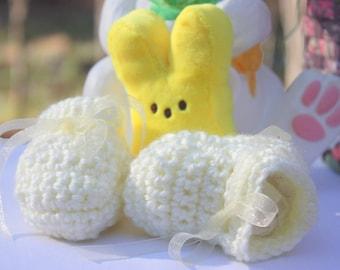 Yellow Crocheted Baby Booties - Yellow Baby Shoes - Crocheted baby Gift