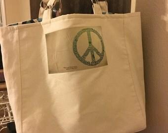 Waxed Canvas Peace Tote Bag
