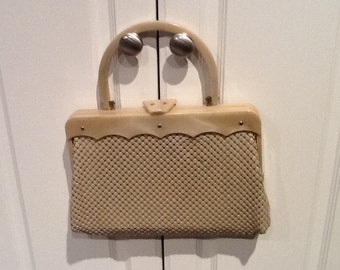 Vintage Whiting and Davis Mesh Handbag with Lucite Frame