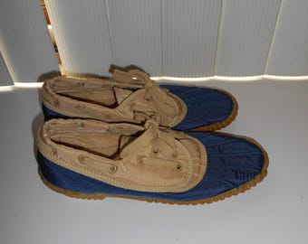 Vintage 80's Sperry Top-Sider Canvas Boat Shoes - Size 6 M