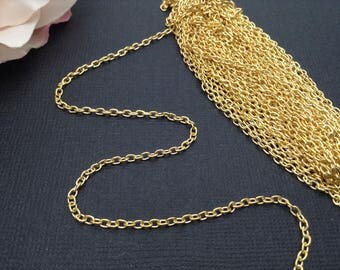 Chain / Gold Chain / Gold Cable Cable Chain / Jewelry Cable Chain / Jewelry Chain 2x3 mm 32 feet