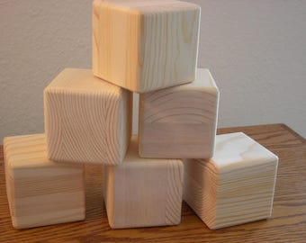 6 Unfinished Wood Cubes for your Craft Project