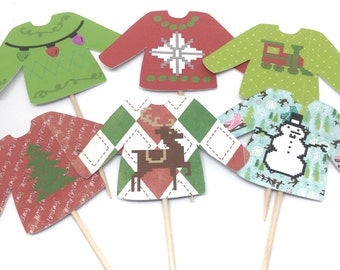 Ugly Sweater Cupcake Toppers - food Picks, Ugly Sweater Party, Party Decor, Christmas Party, Holiday Party, Office Party, Festive Sweaters