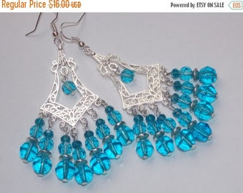 15%OFF Blue Bead and Crystal Silver Chandelier Earrings