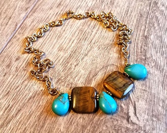 Bengali Blue- Genuine Tiger Eye & Turquoise Howlite Beaded Statement Necklace