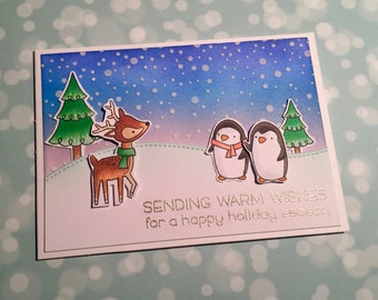 Penguin and Reindeer Happy Holidays card