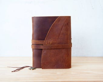 Rustic leather journal, Leather sketchbook, Travel journal
