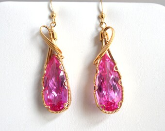 Pink Topaz Wire Wrapped Earrings in 14k Gold Fill