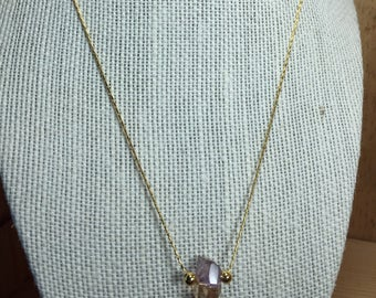 Natural Ametrine Nugget and Gold Plated Chain Beaded Necklace