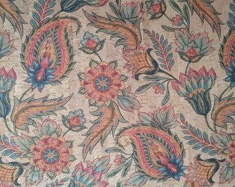 Natural Cork Fabric - Paisley Floral