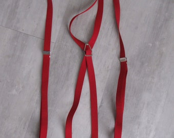 Vintage Red Suspenders - Clip On