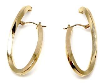 14k Yellow Gold helix - twist Italian hoops Earrings