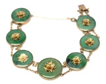 7 disc Jade Bracelet 14k Yellow Gold jadeite