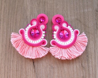 Pink Tassel Earrings, Soutache Earrings, Clip-On Earrings, Pink and hite Earrings, Handmade Soutache Jewelry, Fringe Earrings