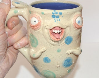 Cutie PaTootie Mug with bum on backside. Aprox. 18 oz stoneware. One of a kind. signed J Cotton