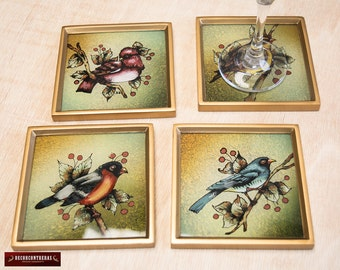 Gold Glass Coaster Set 4 from Peru - Peruvian Glass Coasters, Framed in wood - Handcrafted Birds design - Coaster for drinking