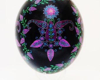 Pysanky, Pink Folk Flowers on Black, Ostrich Egg, Ukrainian Egg Art, Batik
