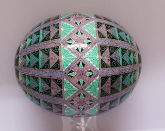 Grecian Tiles on Ostrich Egg Shell, Pysanky, Ukrainian Easter Egg, Batik