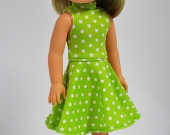 Lime Green Polka Dot Sleeveless Mock Neck Skater Dress made to fit Wellie Wishers Doll Clothes  14.5 Inch Doll Clothes